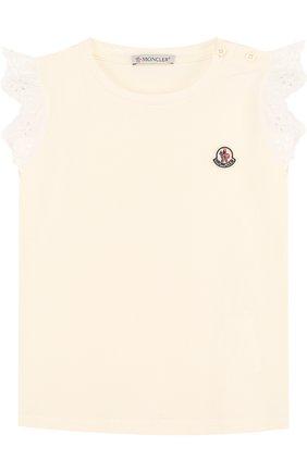 Детский хлопковая футболка с кружевной отделкой MONCLER ENFANT белого цвета, арт. D1-951-80670-05-8790A | Фото 1