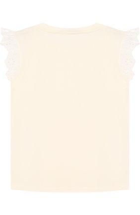 Детский хлопковая футболка с кружевной отделкой MONCLER ENFANT белого цвета, арт. D1-951-80670-05-8790A | Фото 2