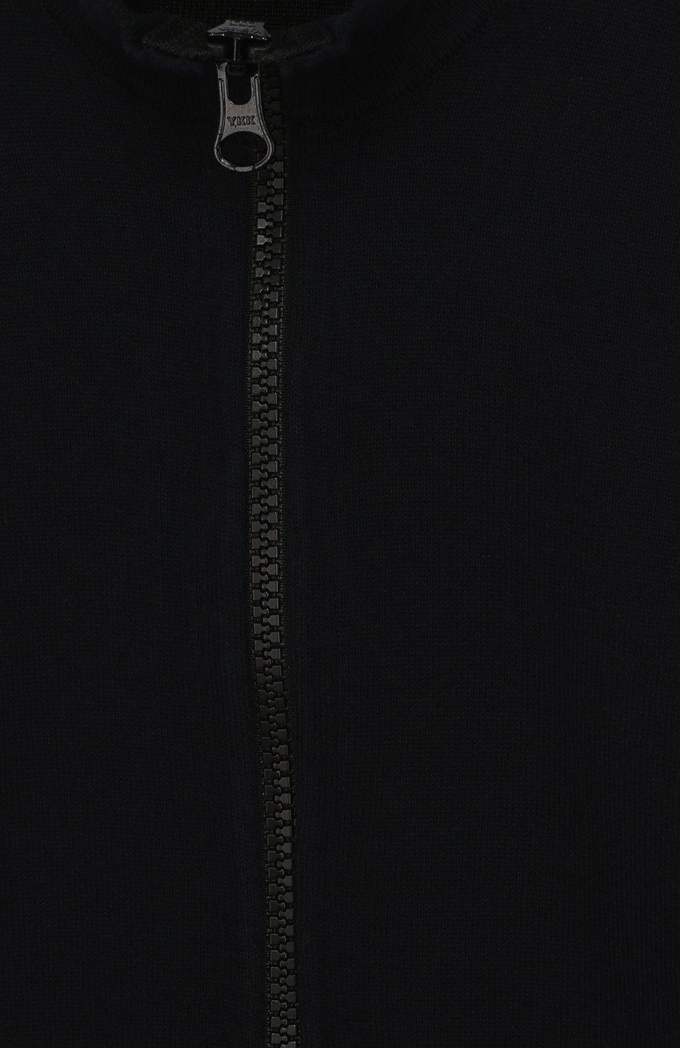 Хлопковый кардиган на молнии с воротником-стойкой   Фото №3