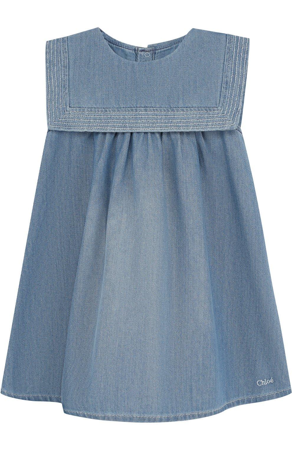 Женский хлопковое платье свободного кроя CHLOÉ голубого цвета, арт. C02178/2A-3A | Фото 1