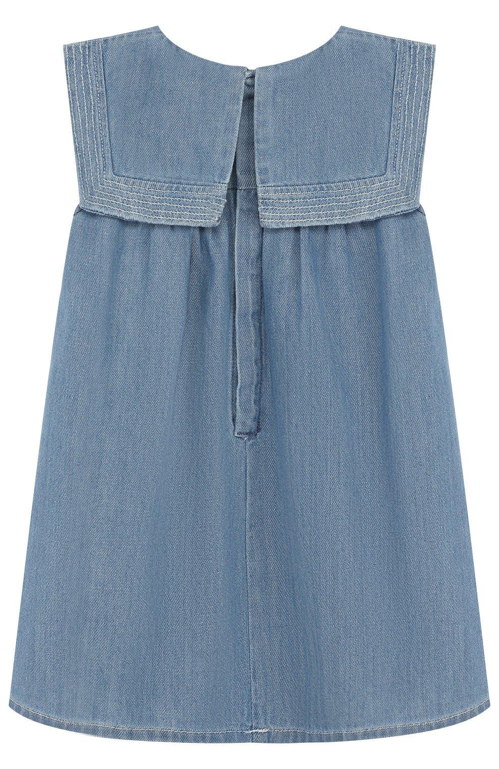 Женский хлопковое платье свободного кроя CHLOÉ голубого цвета, арт. C02178/2A-3A | Фото 2