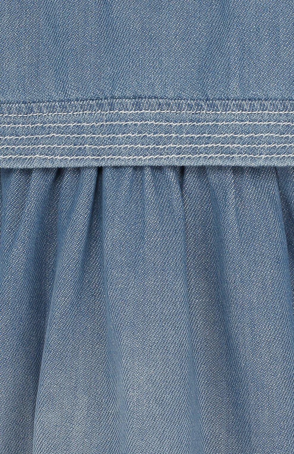 Женский хлопковое платье свободного кроя CHLOÉ голубого цвета, арт. C02178/2A-3A | Фото 3