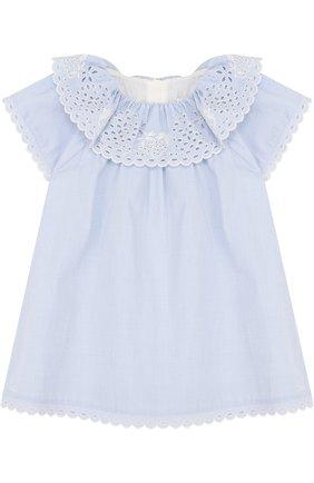 Женский хлопковое мини-платье свободного кроя с вышивкой CHLOÉ голубого цвета, арт. C92460 | Фото 1