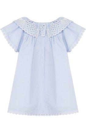 Женский хлопковое мини-платье свободного кроя с вышивкой CHLOÉ голубого цвета, арт. C92460 | Фото 2