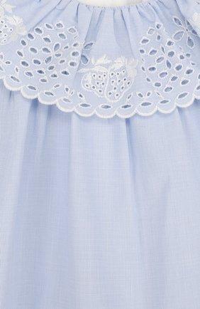Женский хлопковое мини-платье свободного кроя с вышивкой CHLOÉ голубого цвета, арт. C92460 | Фото 3