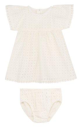 Женский хлопковый комплект из платья и трусов CHLOÉ белого цвета, арт. C92464 | Фото 1