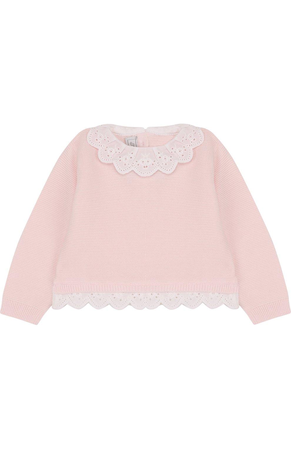 Детский хлопковый пуловер с кружевной отделкой TARTINE ET CHOCOLAT светло-розового цвета, арт. TL18001   Фото 1