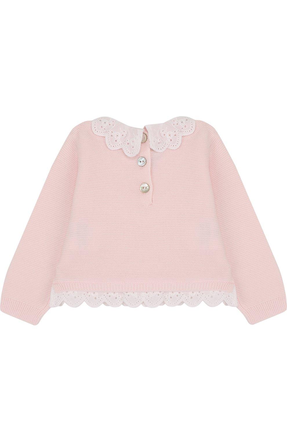 Детский хлопковый пуловер с кружевной отделкой TARTINE ET CHOCOLAT светло-розового цвета, арт. TL18001   Фото 2