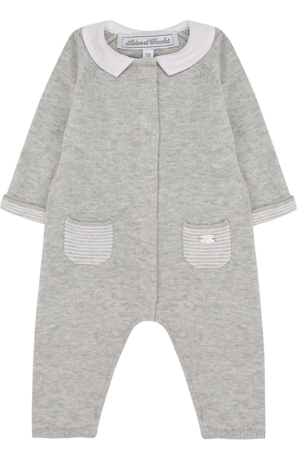 Детский хлопковый комбинезон TARTINE ET CHOCOLAT серого цвета, арт. TL32021 | Фото 1