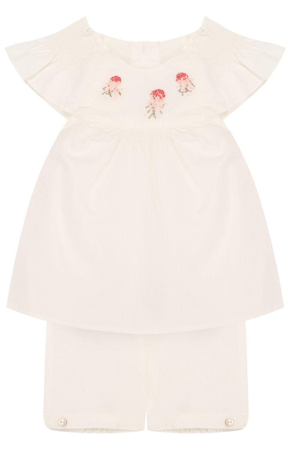 Детский хлопковый комплект из блузы и шорт TARTINE ET CHOCOLAT бежевого цвета, арт. TL37031 | Фото 1