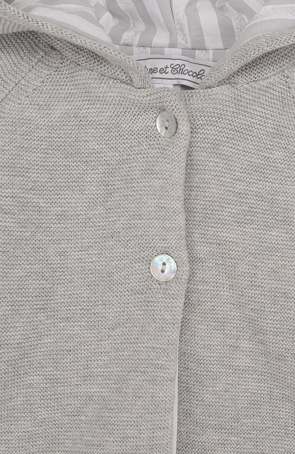 Детский хлопковый кардиган на двух пуговицах с капюшоном TARTINE ET CHOCOLAT серого цвета, арт. TL44041 | Фото 3