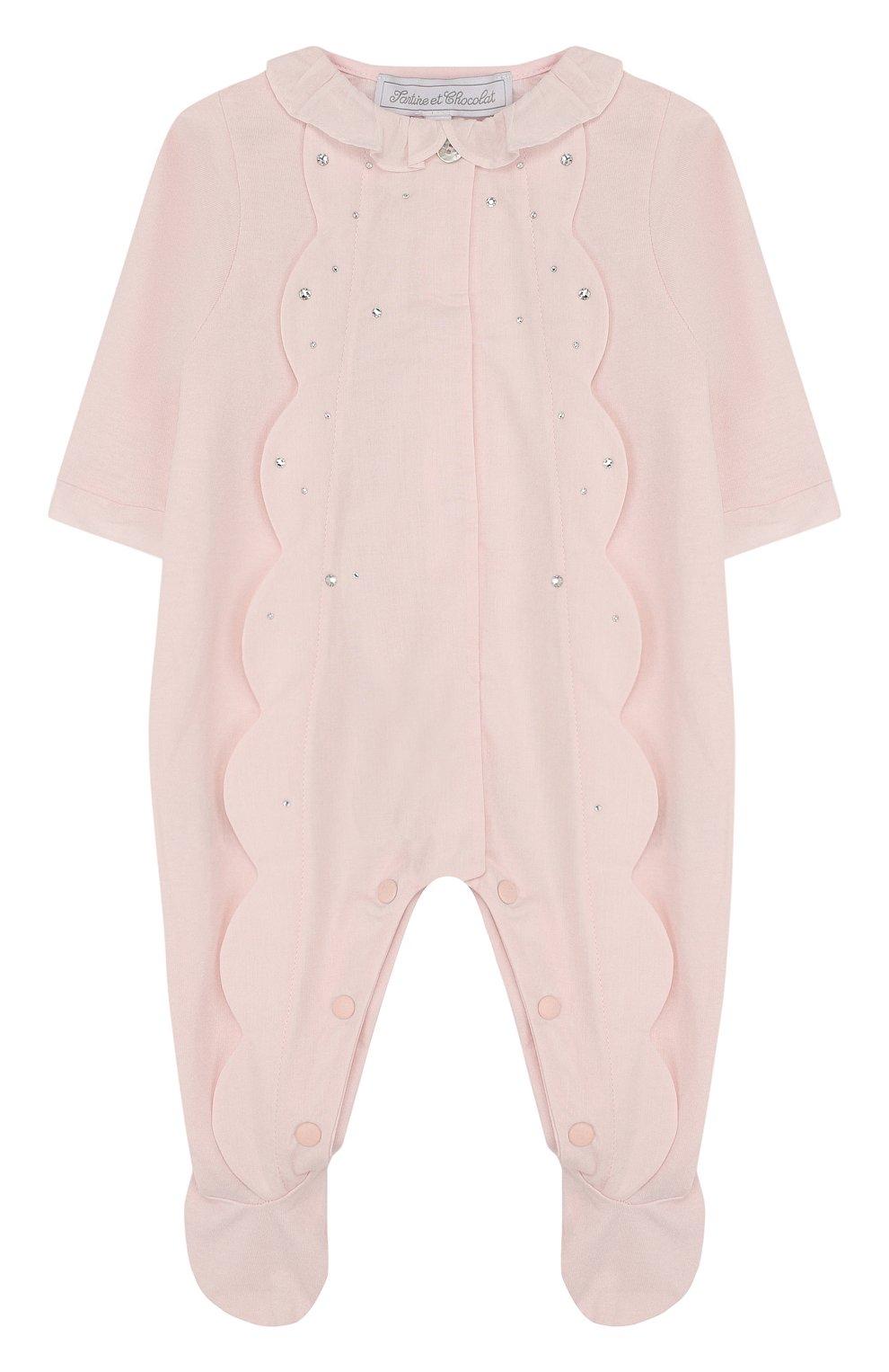 Детский хлопковая пижама с фестонами и стразами TARTINE ET CHOCOLAT светло-розового цвета, арт. TL54001 | Фото 1