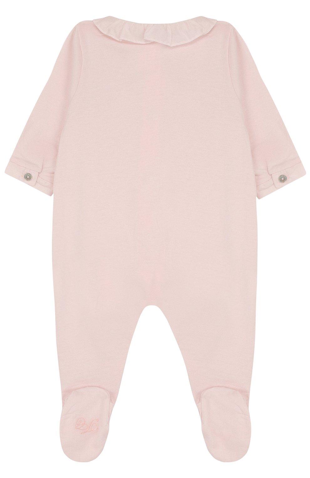 Детский хлопковая пижама с фестонами и стразами TARTINE ET CHOCOLAT светло-розового цвета, арт. TL54001 | Фото 2