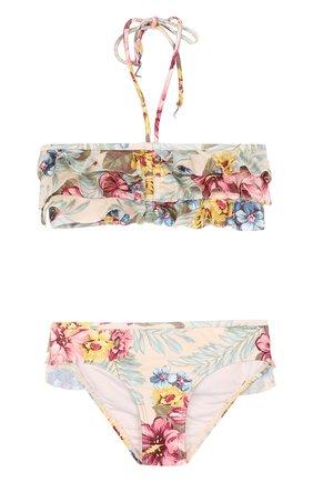 Раздельный купальник с принтом и оборками Zimmermann разноцветного цвета | Фото №1