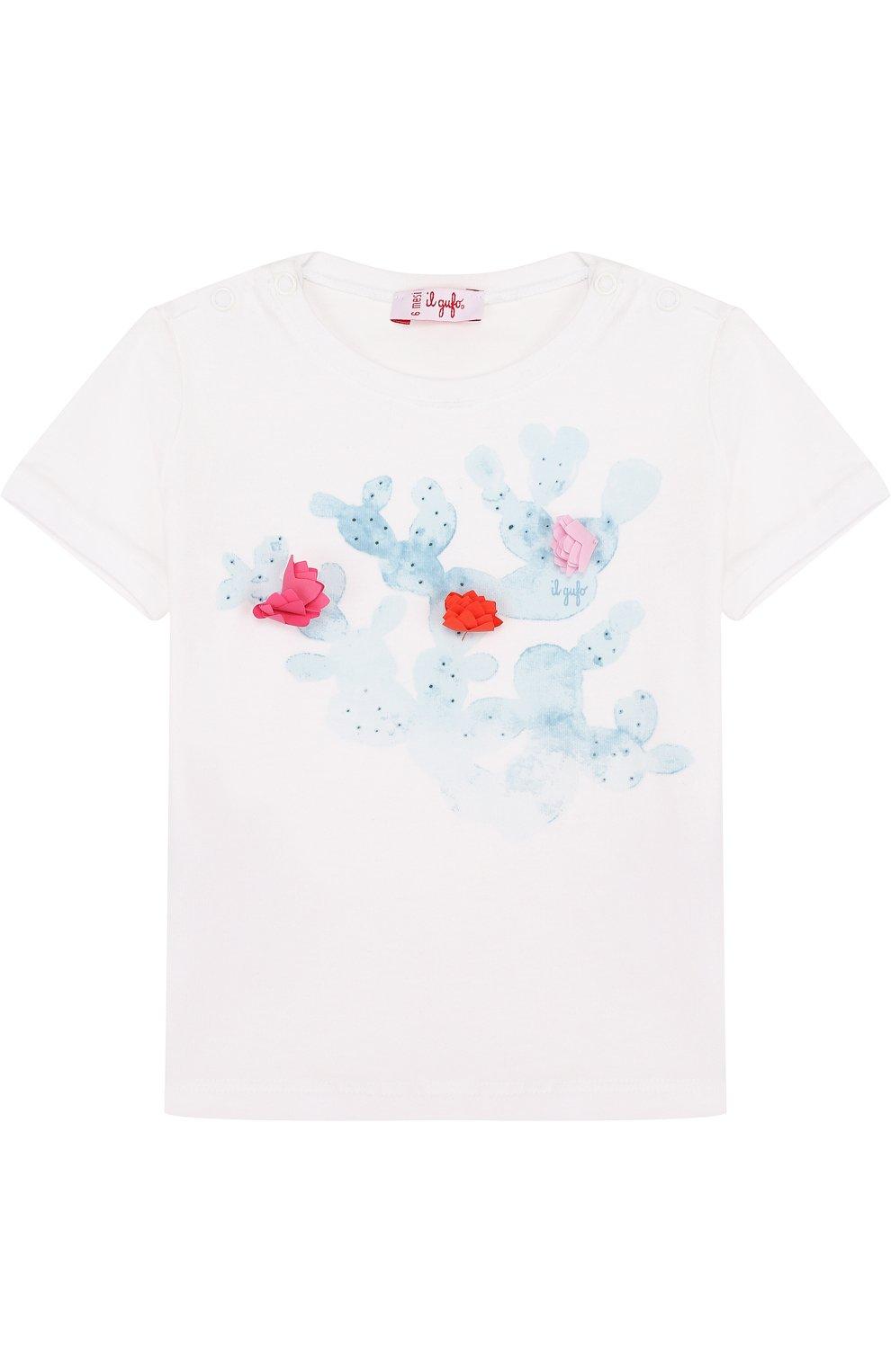 Детский хлопковая футболка с принтом IL GUFO белого цвета, арт. P18TS4C6M0032/3M-9M   Фото 1