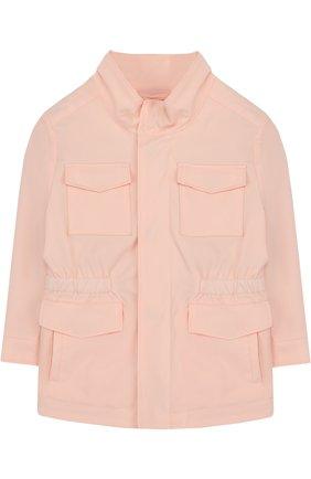 Куртка с эластичной вставкой на поясе и воротником-стойкой | Фото №1