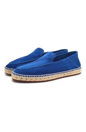 Мужские замшевые эспадрильи seaside walk LORO PIANA синего цвета, арт. FAI1665 | Фото 1