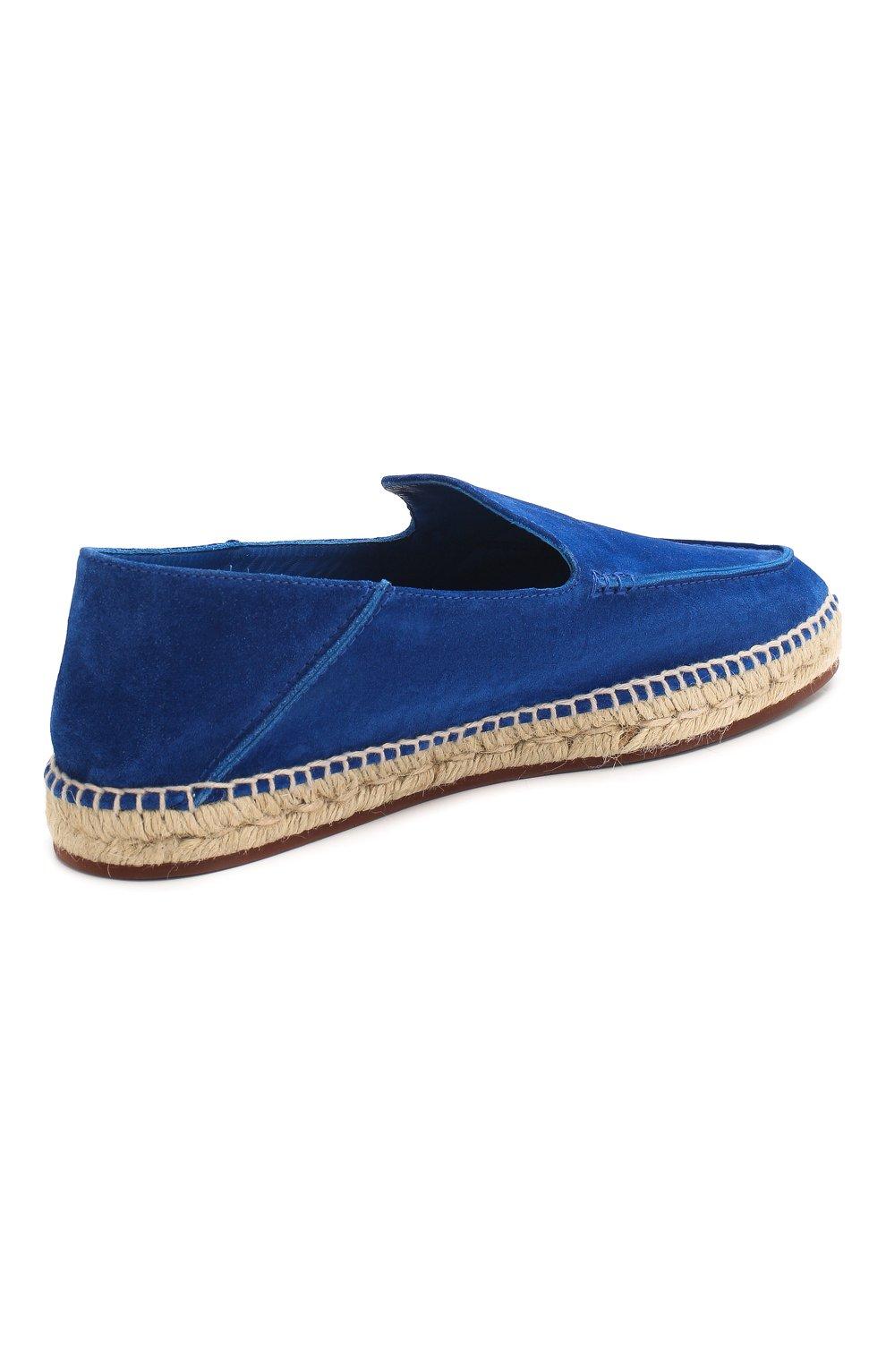 Мужские замшевые эспадрильи seaside walk LORO PIANA синего цвета, арт. FAI1665   Фото 4