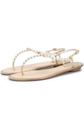 Кожаные сандалии с жемчужинами и бантом Rene Caovilla бежевые | Фото №1