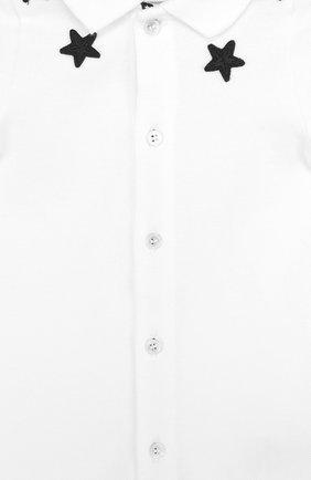 Детское хлопковый песочник с аппликациями GIVENCHY белого цвета, арт. H94018 | Фото 3
