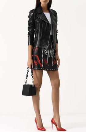Однотонная кожаная куртка с косой молнией DROMe черная | Фото №1