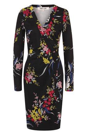 Шелковое мини-платье с запахом и принтом Diane Von Furstenberg черное   Фото №1