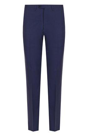 Шерстяные брюки прямого кроя Kiton темно-синие | Фото №1
