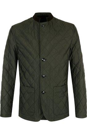 Шелковая стеганая куртка на пуговицах   Фото №1