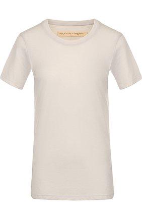 Однотонная приталенная футболка с круглым вырезом Raquel Allegra бежевая | Фото №1