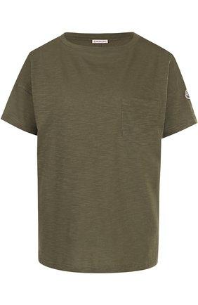 Однотонная хлопковая футболка с круглым вырезом Moncler хаки | Фото №1