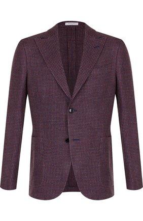 Однобортный пиджак из смеси льна и шелка с хлопком   Фото №1