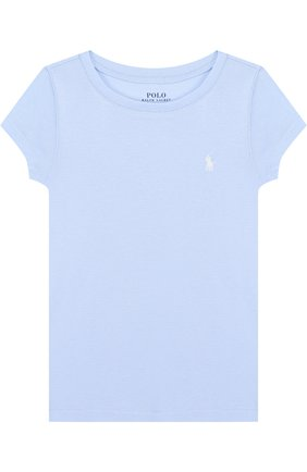 Детская футболка джерси с логотипом бренда POLO RALPH LAUREN голубого цвета, арт. 311688671 | Фото 1