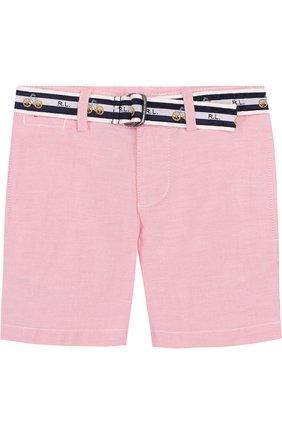 Хлопковые шорты с контрастным ремнем | Фото №1
