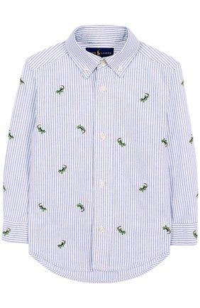 Хлопковая рубашка с воротником button down и вышивкой | Фото №1