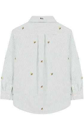 Детская хлопковая рубашка с воротником button down и вышивкой POLO RALPH LAUREN зеленого цвета, арт. 321691591 | Фото 2 (Материал внешний: Хлопок; Рукава: Длинные; Случай: Повседневный)