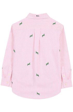 Детская хлопковая рубашка с воротником button down и вышивкой POLO RALPH LAUREN розового цвета, арт. 321691591 | Фото 2 (Материал внешний: Хлопок; Рукава: Длинные; Случай: Повседневный)