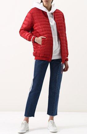 Удлиненный стеганый пуховик с манжетами Moncler красная | Фото №1