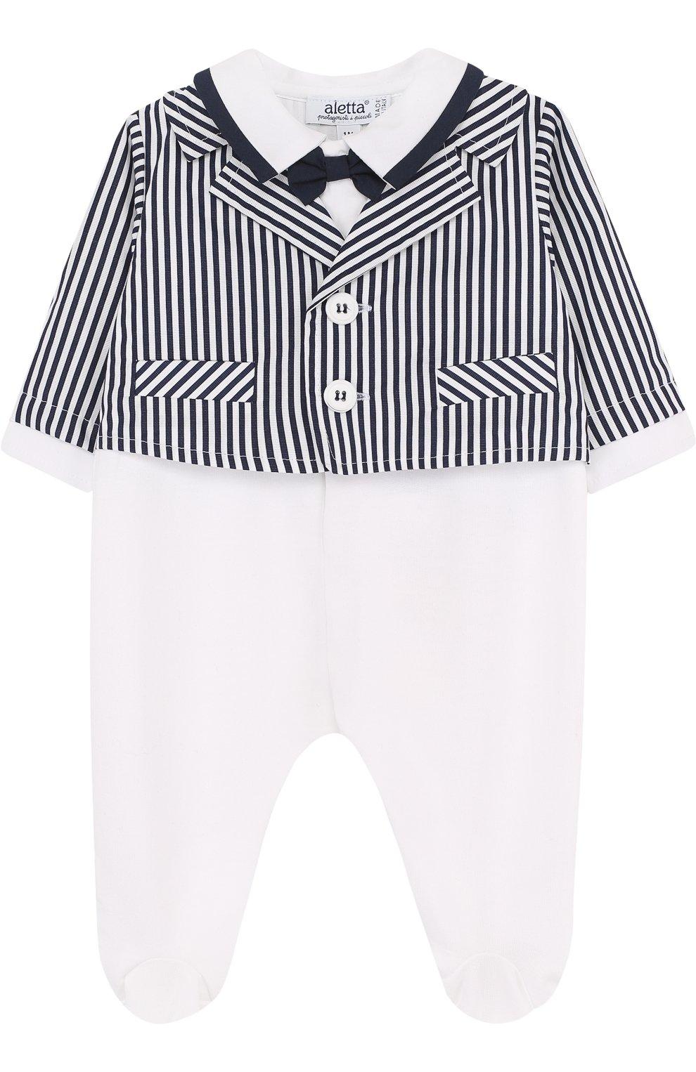 Детский хлопковый комбинезон с декоративной отделкой ALETTA белого цвета, арт. RM88553F/1M-18M   Фото 1