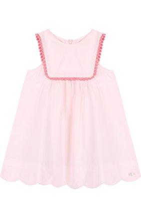 Женский хлопковое платье свободного кроя с отделкой TARTINE ET CHOCOLAT светло-розового цвета, арт. TL30171/1M-18M   Фото 1