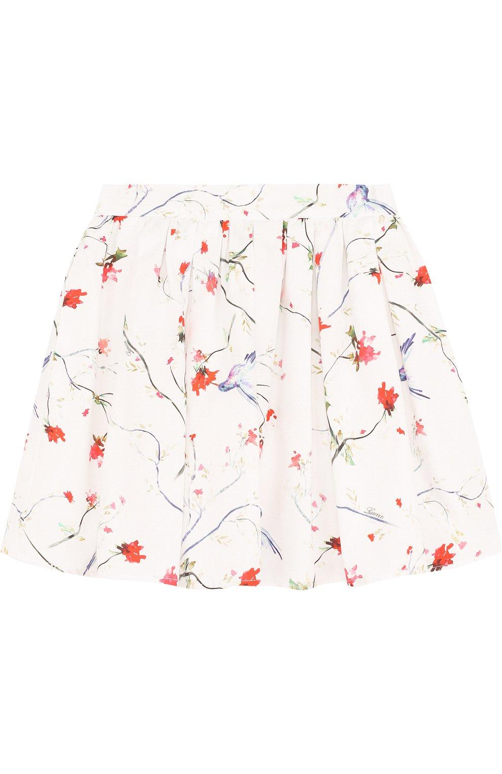 Хлопковая юбка свободного кроя с принтом   Фото №1