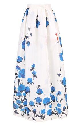 Шелковая юбка-макси с цветочным принтом | Фото №1