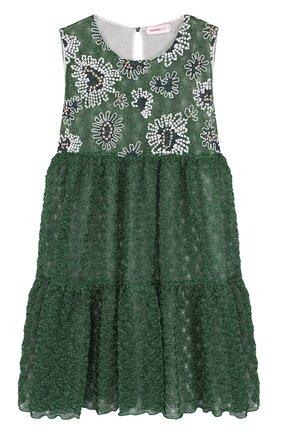 Шелковое мини-платье с металлизированной отделкой и вышивкой | Фото №1