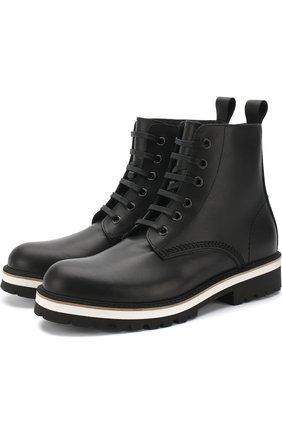 Кожаные ботинки на контрастной подошве | Фото №1