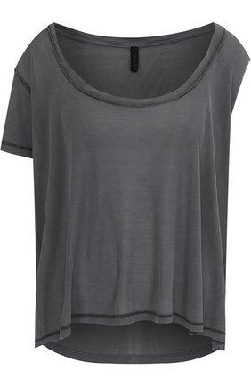 Шелковая футболка асимметричного кроя Ben Taverniti Unravel Project темно-серая | Фото №1