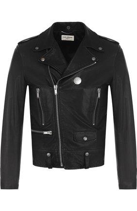 Мужская кожаная куртка с косой молнией SAINT LAURENT черного цвета, арт. 506799/YC2IF   Фото 1