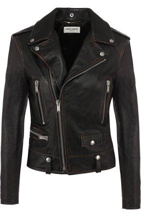 Женская однотонная кожаная куртка с косой молнией SAINT LAURENT черного цвета, арт. 481862/Y5RD2 | Фото 1
