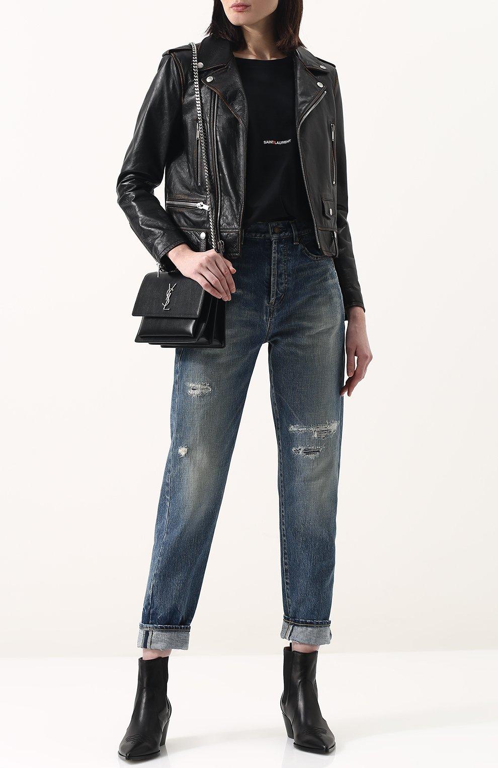 Женская однотонная кожаная куртка с косой молнией SAINT LAURENT черного цвета, арт. 481862/Y5RD2 | Фото 2