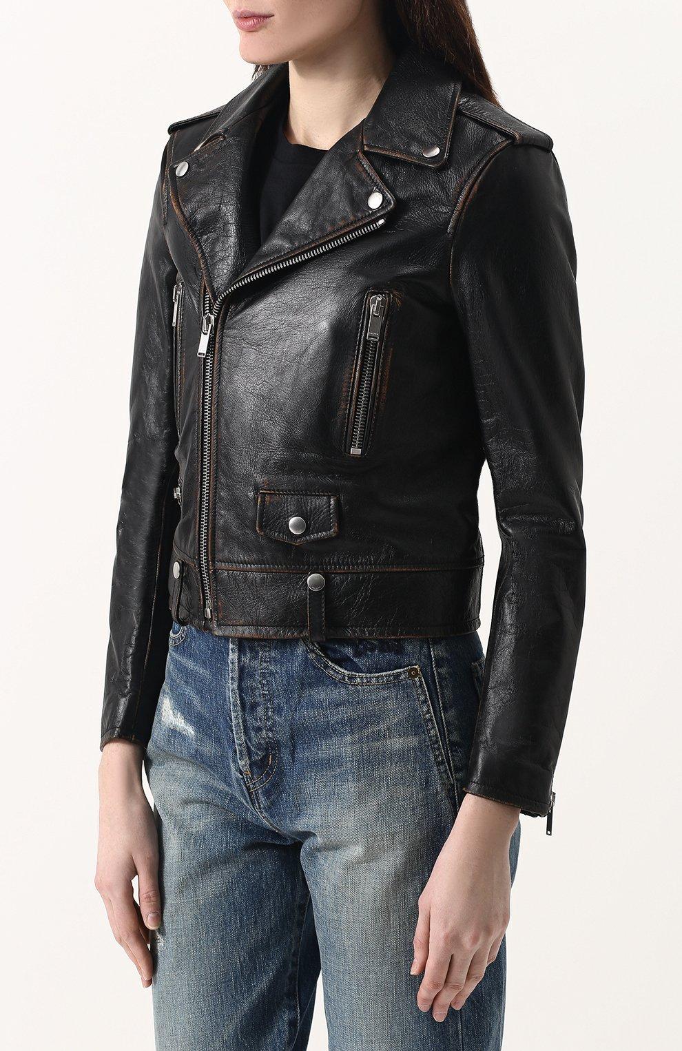 Женская однотонная кожаная куртка с косой молнией SAINT LAURENT черного цвета, арт. 481862/Y5RD2 | Фото 3