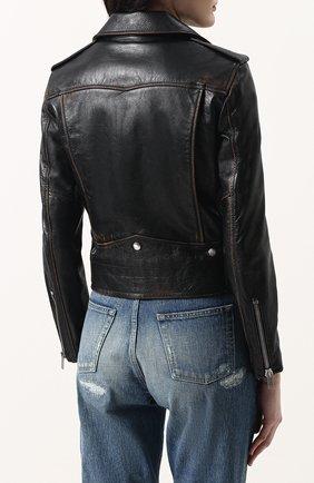 Женская однотонная кожаная куртка с косой молнией SAINT LAURENT черного цвета, арт. 481862/Y5RD2 | Фото 4