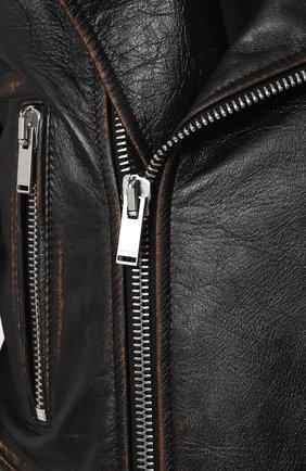 Женская однотонная кожаная куртка с косой молнией SAINT LAURENT черного цвета, арт. 481862/Y5RD2 | Фото 5